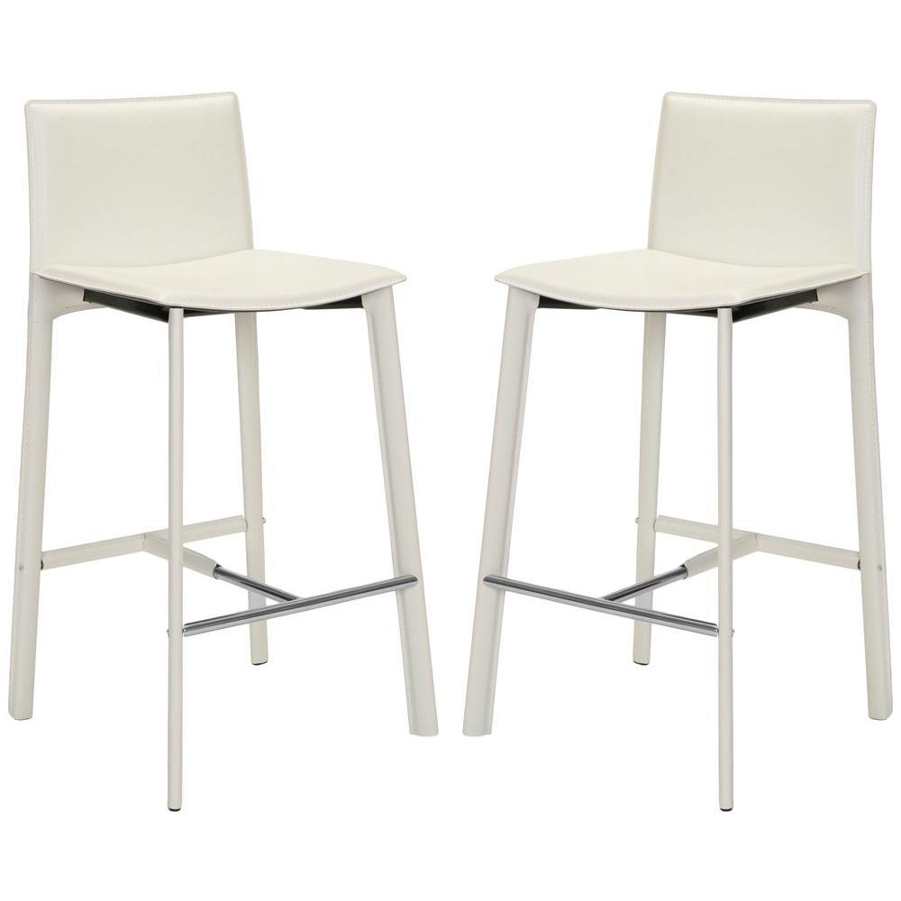Fabulous Safavieh White Leather Bar Stools Kitchen Dining Lamtechconsult Wood Chair Design Ideas Lamtechconsultcom