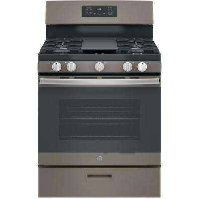 5.0 cu. ft. Gas Range with Steam Cleaning Oven in Slate