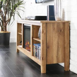 Walker Edison Furniture Company Essentials Barnwood Fire Place  Entertainment Center HD58FP18BW   The Home Depot