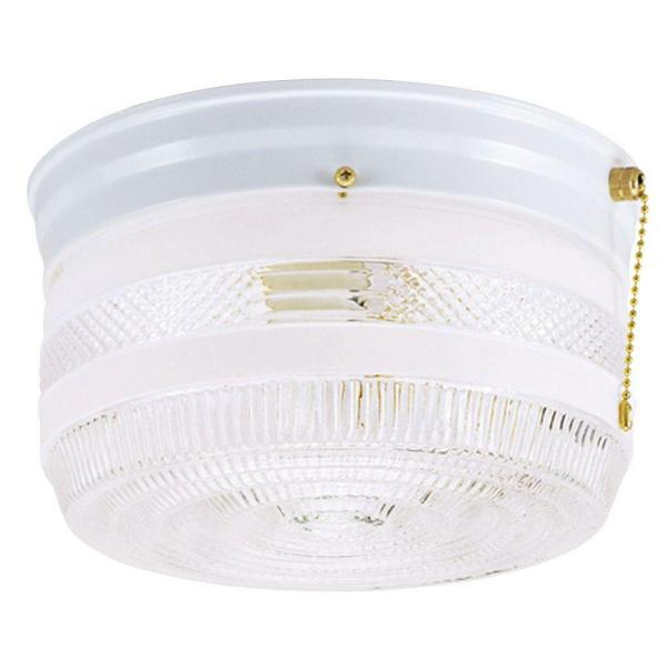 2-Light Ceiling Fixture White Interior Flush-Mount with Pull Chain and White and Clear Glass
