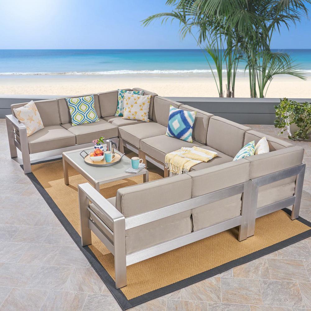 Cape Coral 8-Piece Aluminum Patio Conversation Set with Khaki Cushions