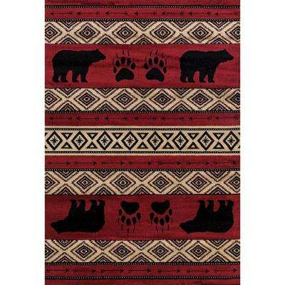 Woodside Bear Imprint Red 7 ft. 10 in. x 10 ft. 6 in. Oversize Area Rug