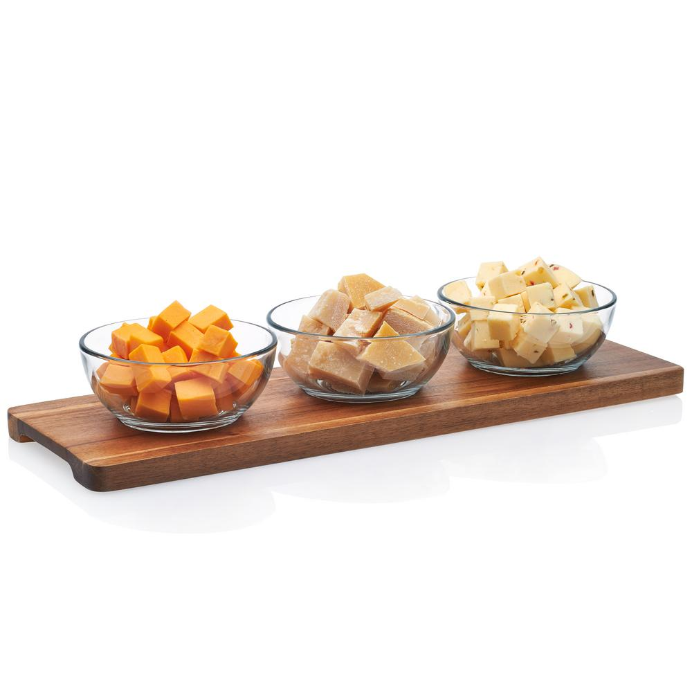f309c467d Libbey Acaciawood 3-Piece Glass Condiment Dish Set with Wood Serving Board  56658 - The Home Depot