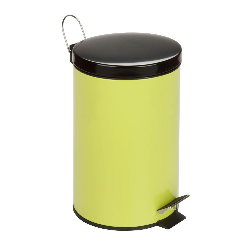 honey can do 3 gal lime green round metal step on touchless trash