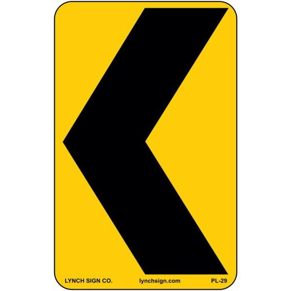 12 in. x 18 in. Left Arrow Sign Printed on More Durable, Thicker, Longer Lasting Styrene Plastic