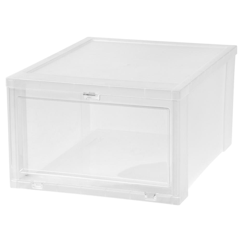 IRIS 17 Qt. Large Drop Front Shoe Storage Box In Clear (Pack Of 6