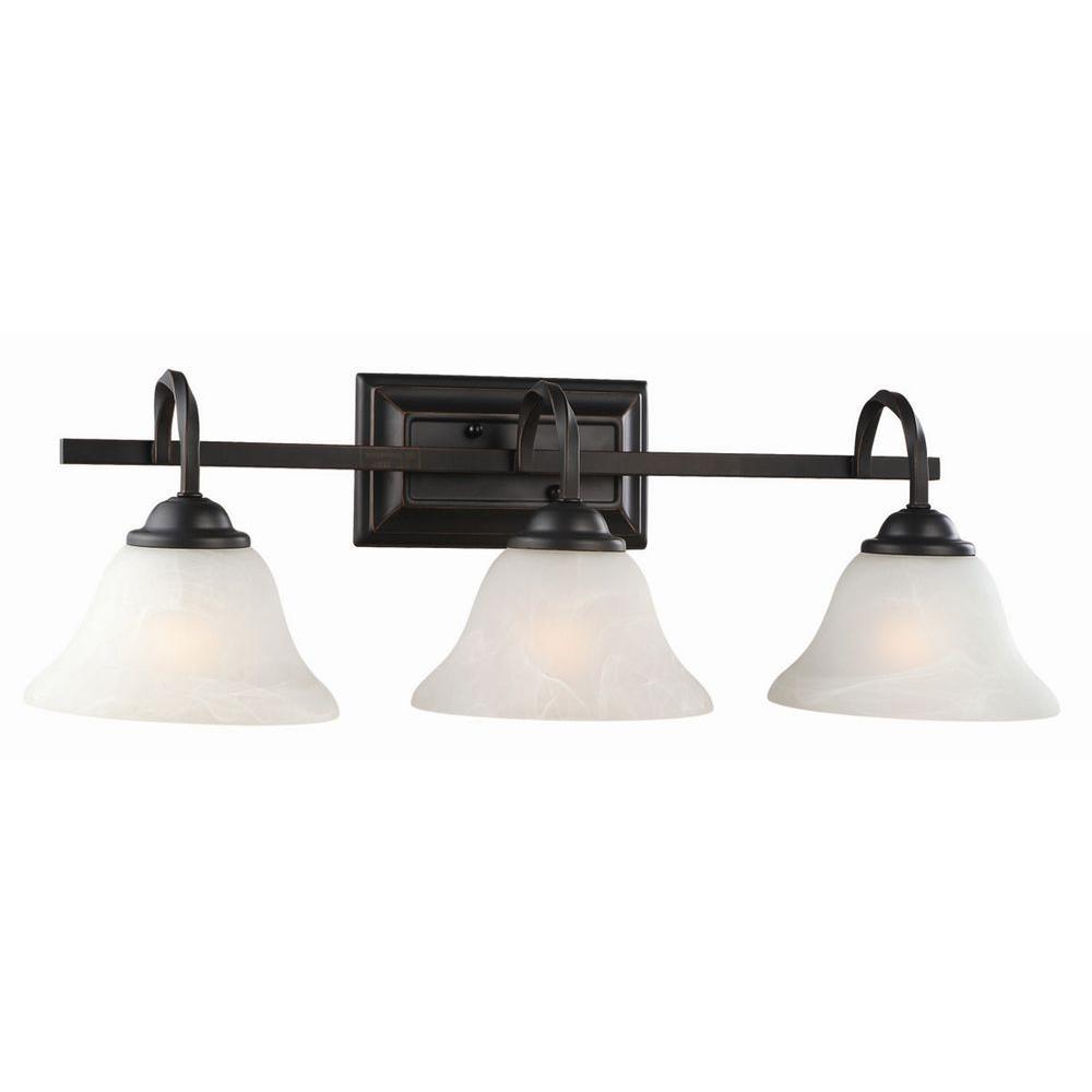 Design house drake 3 light oil rubbed bronze vanity light 514901 the home depot for Home depot bathroom lighting bronze