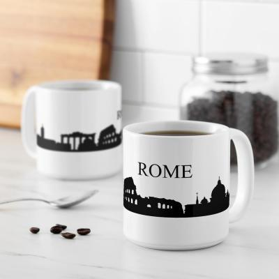 Rome Skyline 20 oz. White Ceramic Coffee Mugs (Set of 2)