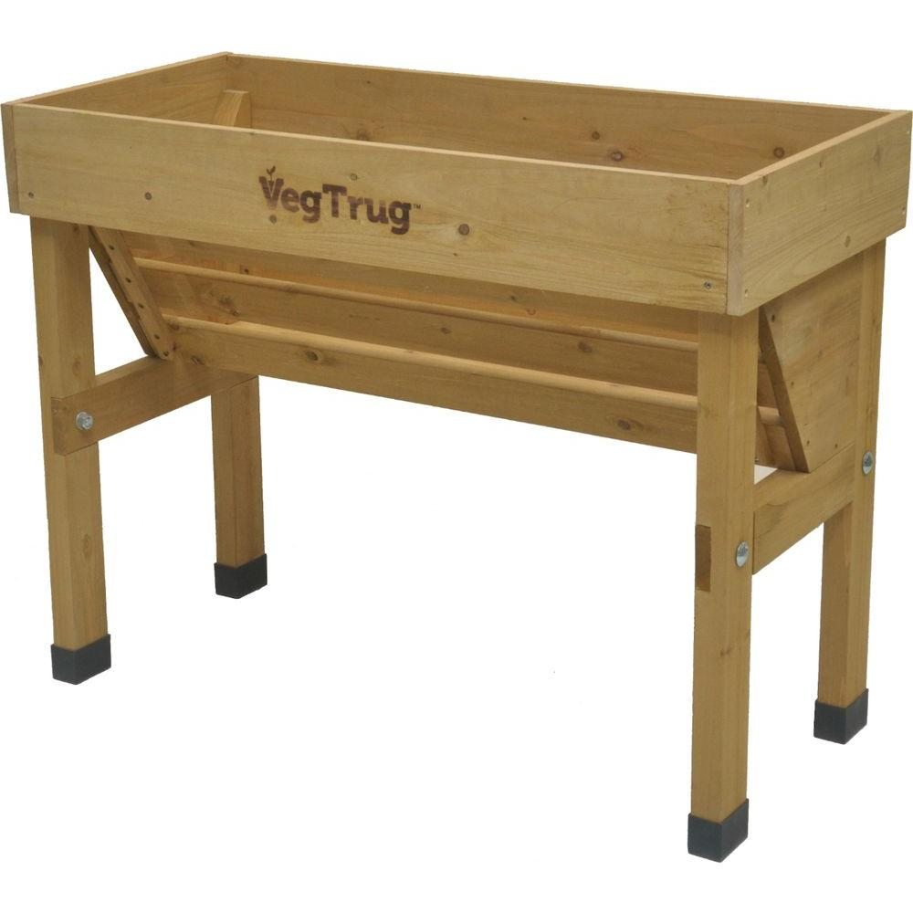 VegTrug Wall Hugger 40 In. W X 30 In. H Wooden Raised Bed Planter  Stand VTWHSN0381   The Home Depot