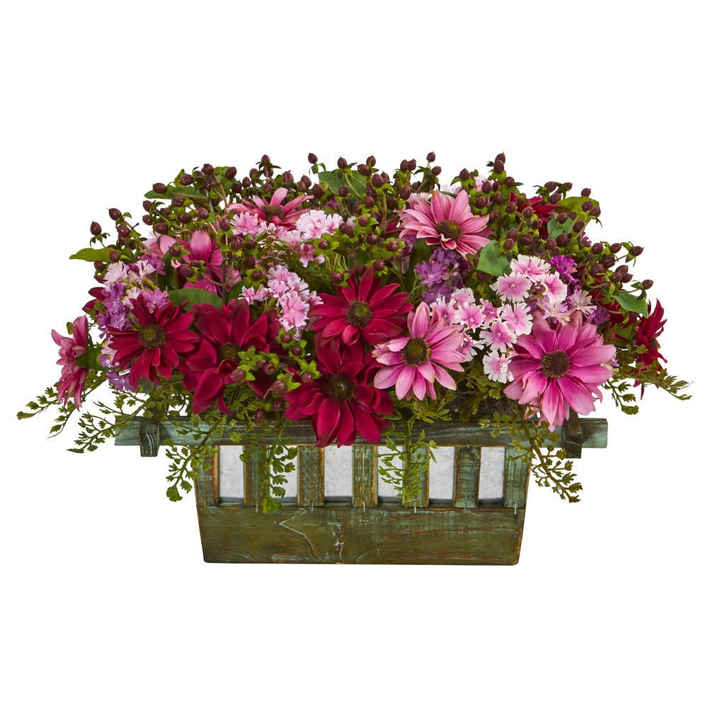 Indoor Daisy Artificial Arrangement in Decorative Planter