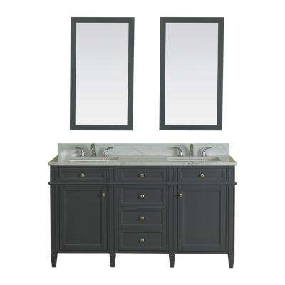 Samantha 60 in. W x 22 in. D Vanity in Gray with Marble Vanity Top in White with White Basin and Mirror