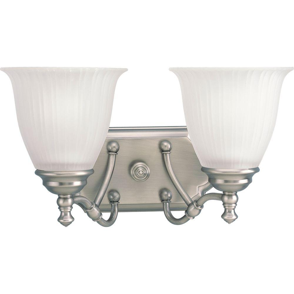 Renovations Collection 2-Light Antique Nickel Vanity Light with Etched Glass