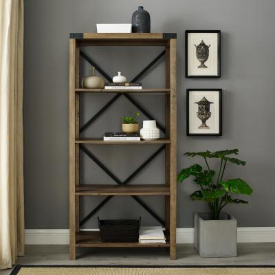 64 in. Rustic Oak Wood 4-shelf Etagere Bookcase with Open Back
