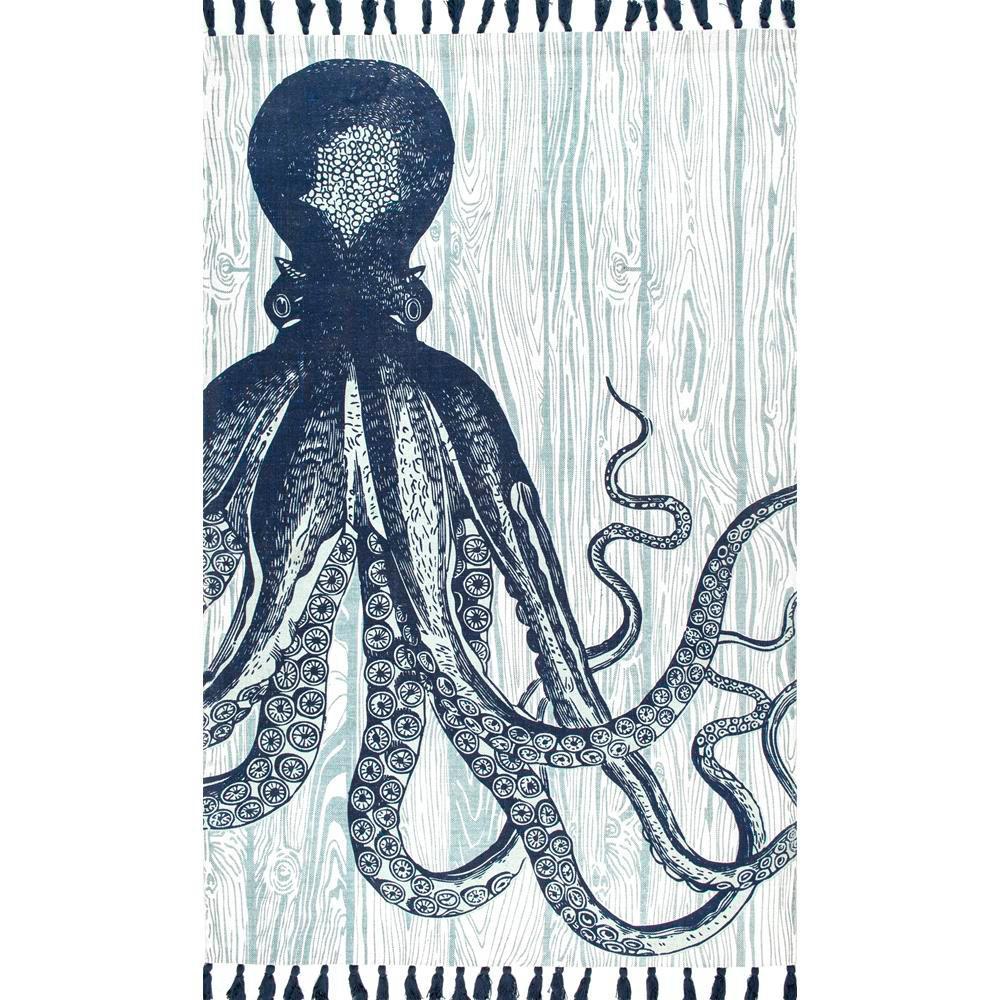 Nuloom Thomas Paul Flat Weave Octopus Tassel Ivory 5 Ft X