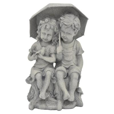 8 in. L x 7 in. W x 14 in. H Resin/Magnesium Boy And Girl Under Umbrella in Gray