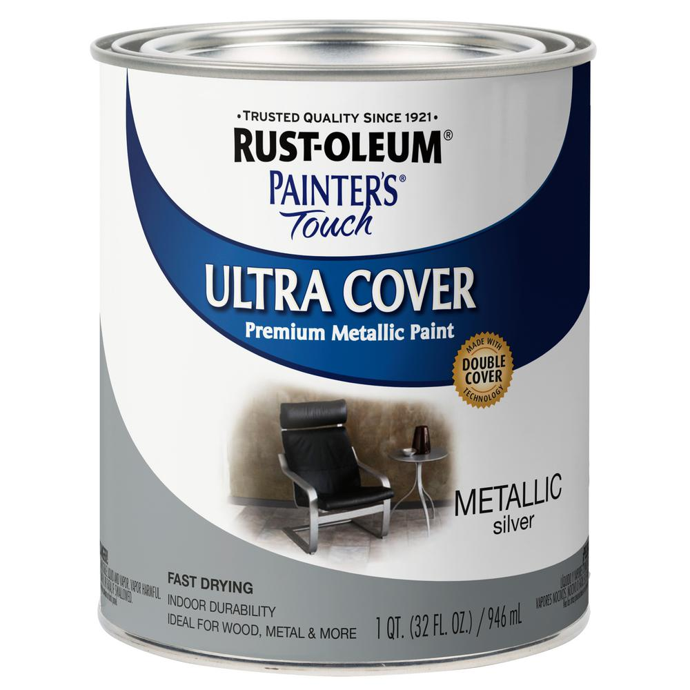 Rust Oleum Painter S Touch 32 Oz Ultra Cover Metallic Silver General Purpose Paint 254100 The Home Depot