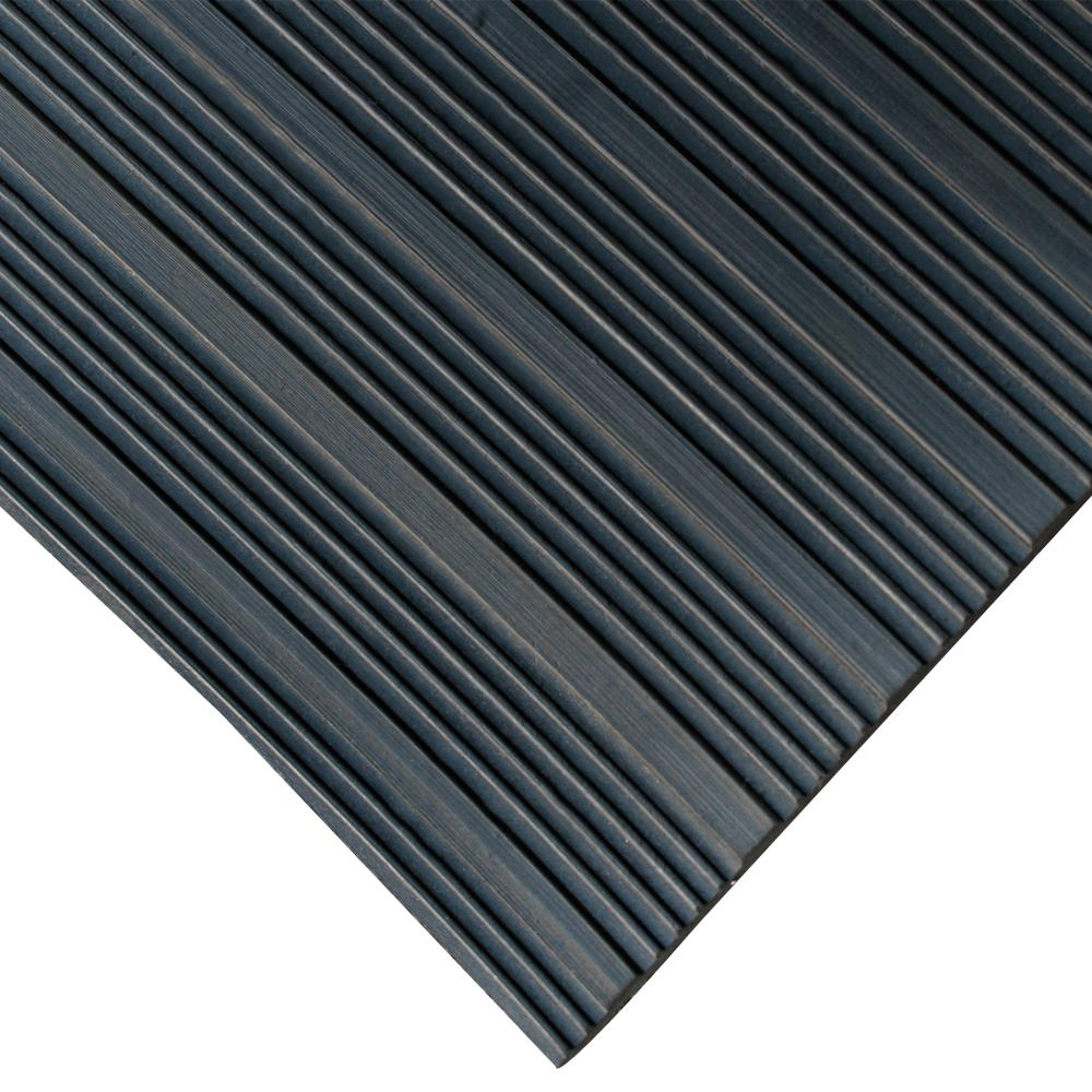 Corrugated Composite Rib 3 ft. x 15 ft. Black Rubber Flooring