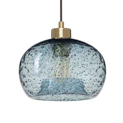 9 in. W x 6 in. H 1-Light Brass Rustic Seeded Hand Blown Glass Pendant Light with Blue Glass Shade
