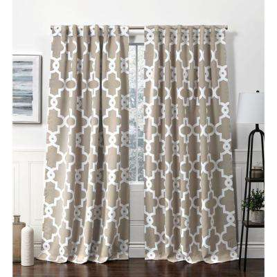 Ironwork HT Taupe Blackout Hidden Tab Top Curtain Panel - 52 in. W x 96 in. L (2-Panel)