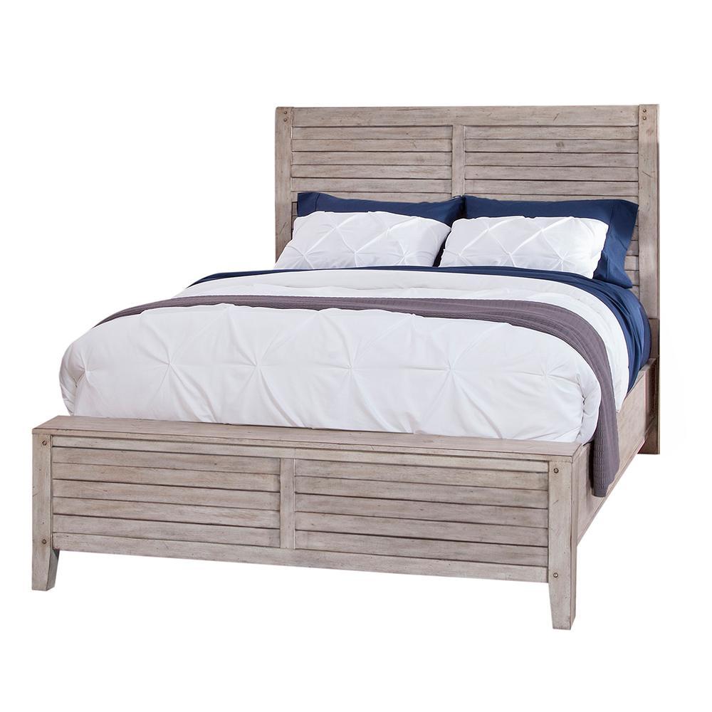 Aurora Whitewashed King Panel Bed