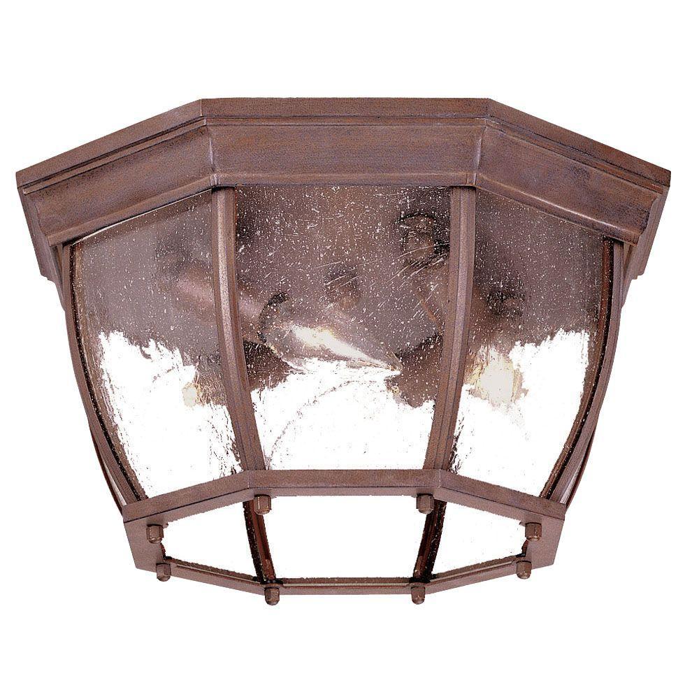 Acclaim Lighting Flushmount Collection Ceiling-Mount 4-Light Burled Walnut Outdoor Light Fixture