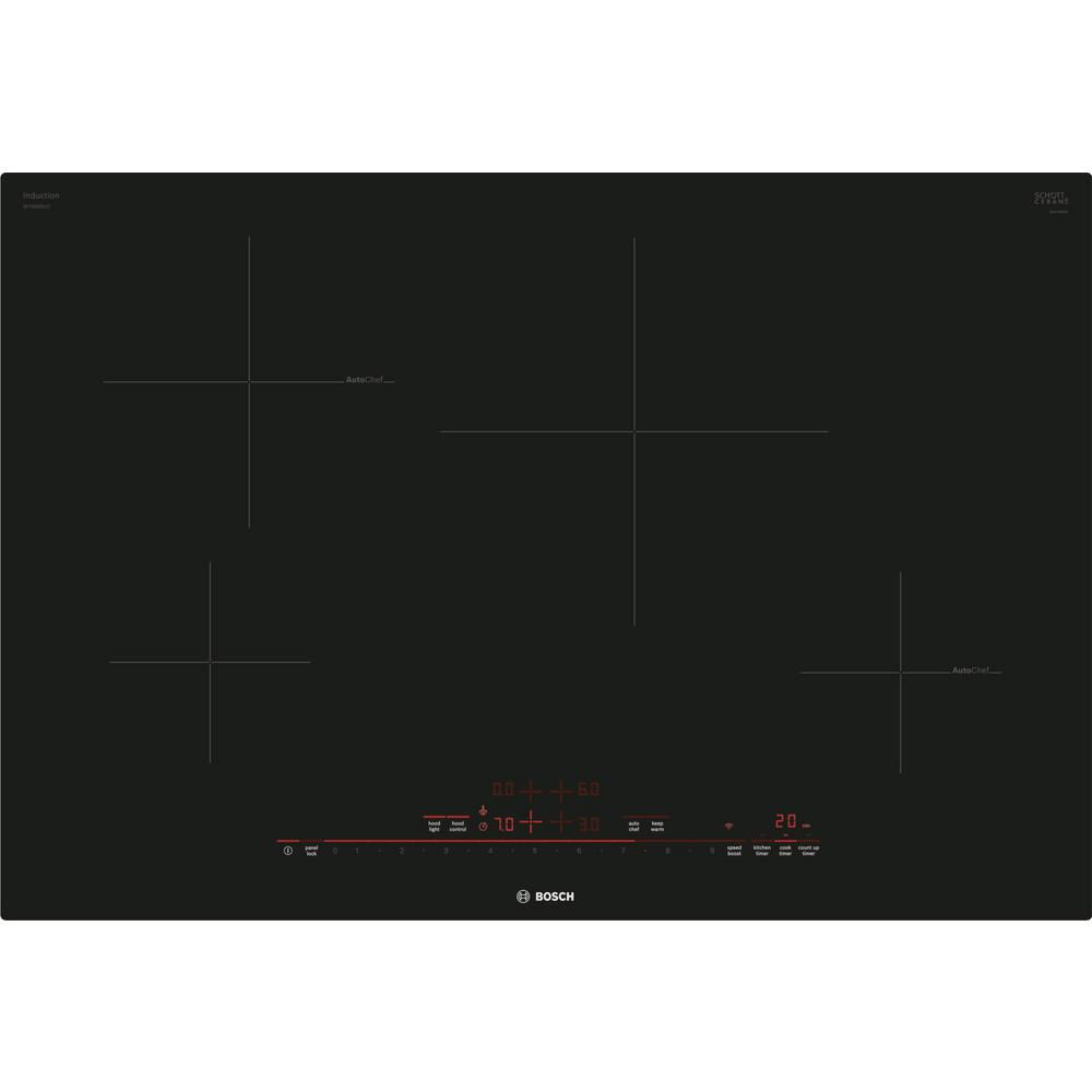 Bosch 800 Series 30 in. Induction Cooktop in Black with 4 Elements