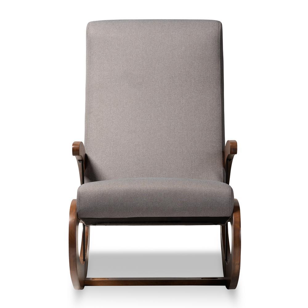 Kaira Gray and Walnut Fabric Rocking Chair