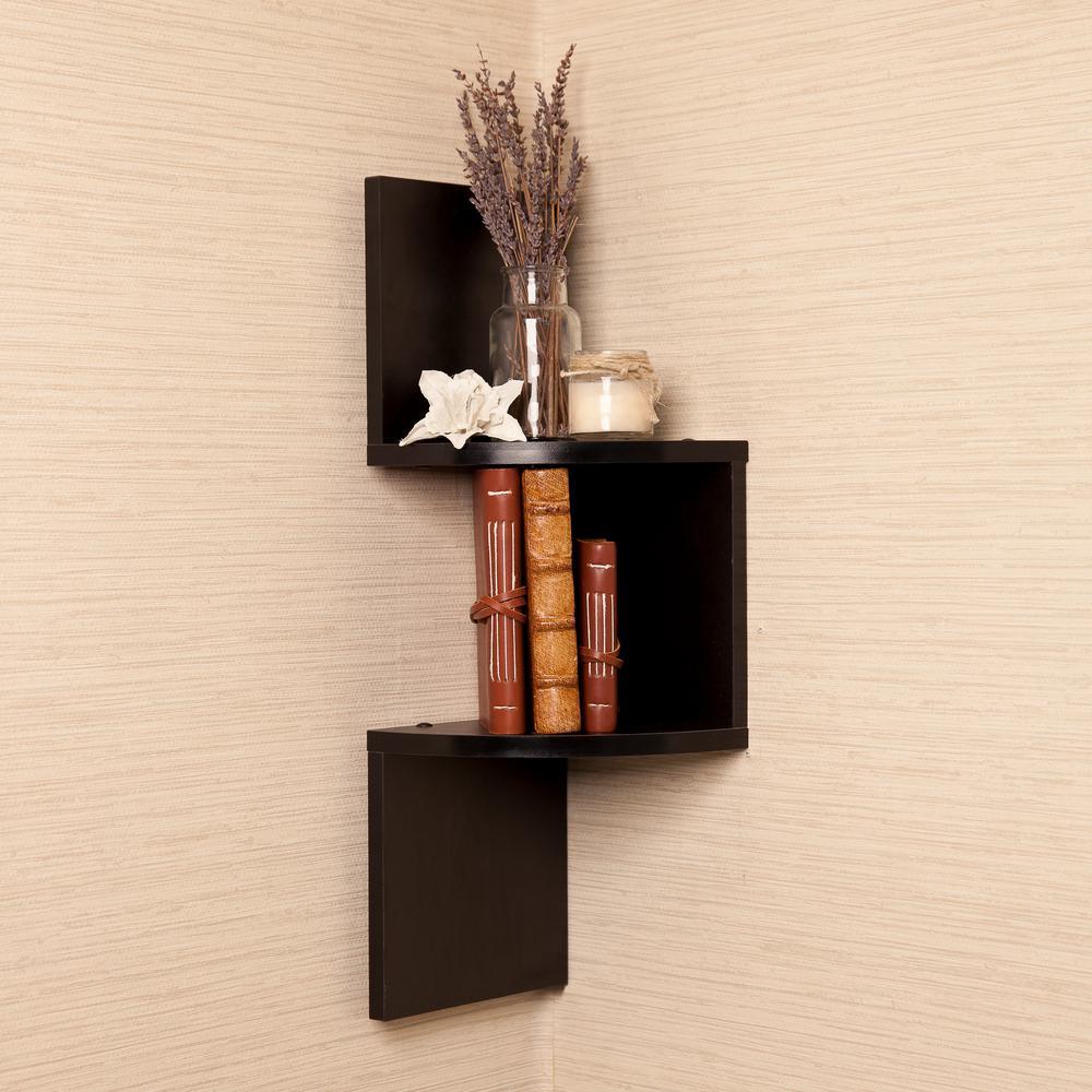 20 in. Black Laminated Corner Shelf