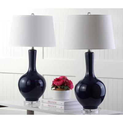 Blanche 32 in. Navy Gourd Table Lamp with White Shade (Set of 2)