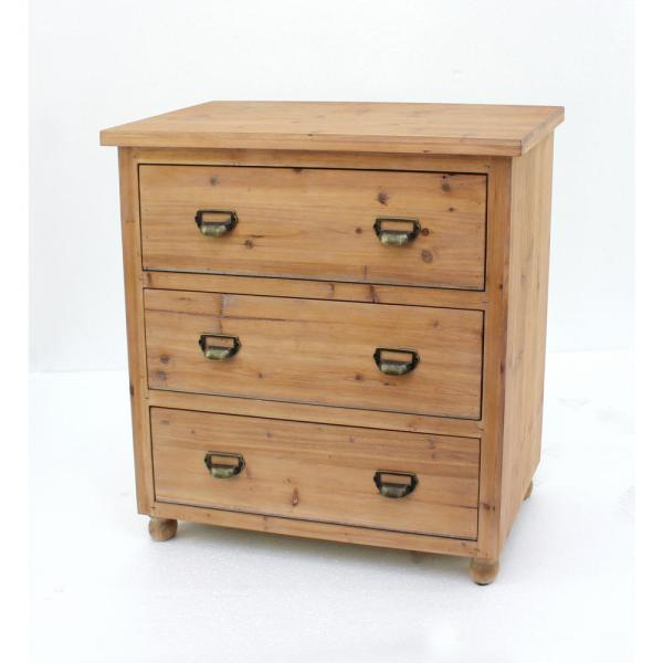 Brown Wood 3 Drawer Storage Cabinet