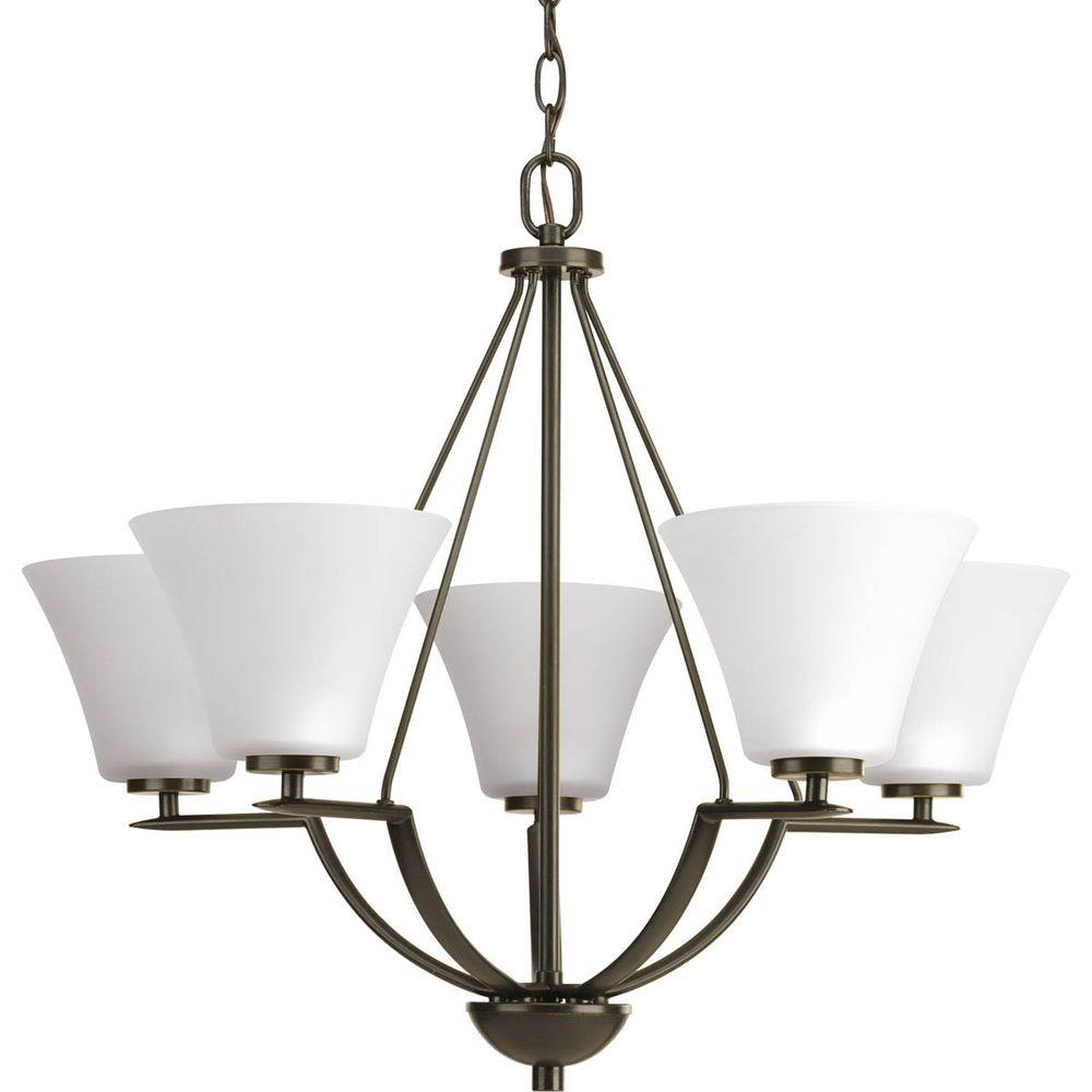 Bravo Collection 5-Light Antique Bronze Chandelier with White Etched Glass Shade