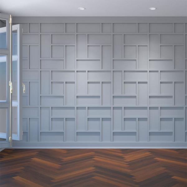 Ekena Millwork 3/8 in. x 23-3/4 in. x 23-3/4 in. Large Sheffield White Architectural Grade PVC Decorative Wall Panels