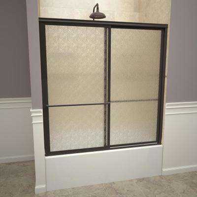 1100 Series 59 in. W x 58-1/2 in. H Framed Sliding Tub Doors in Oil Rubbed Bronze with Towel Bars and Obscure Glass
