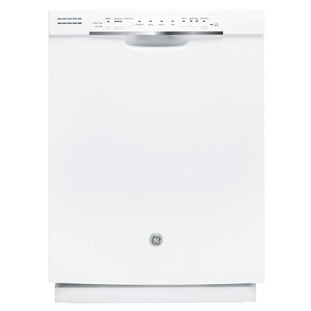 GE Front Control Dishwasher in White with Steam Cleaning