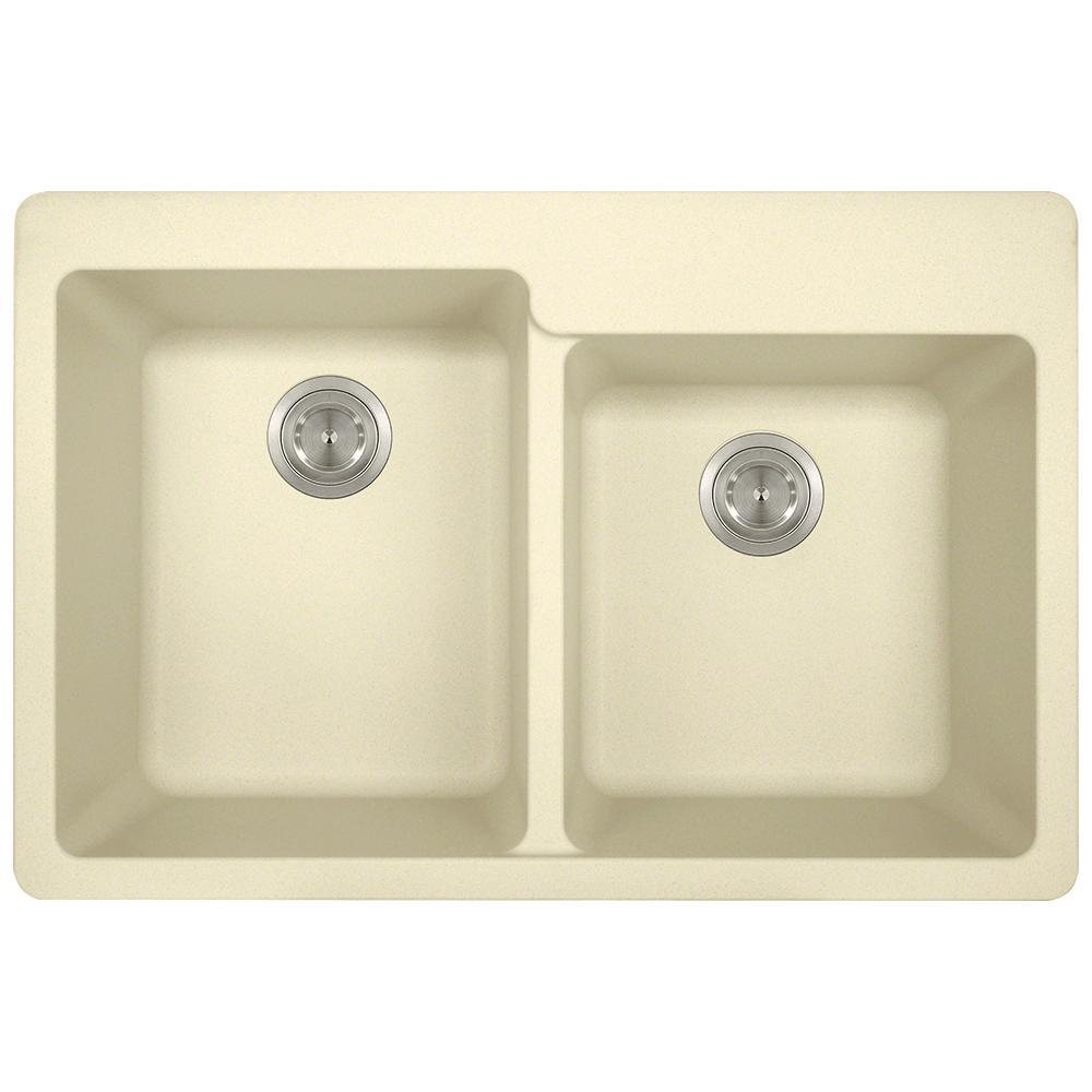 Kitchen Sink Offset From Window: MR Direct Drop-in Granite Composite 33 In. 3-Hole Offset