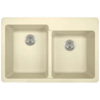 Drop-in Granite Composite 33 in. 3-Hole Offset Double Bowl Kitchen Sink in Beige