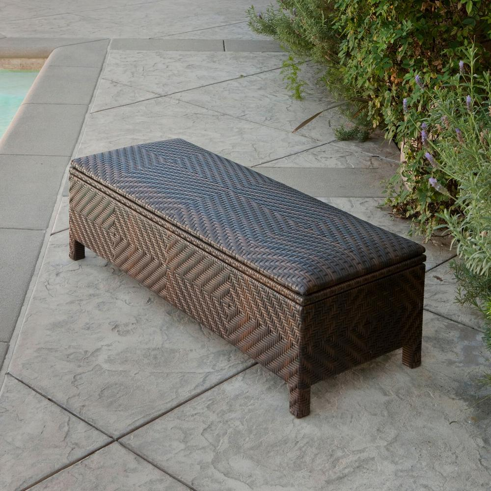 Incroyable Noble House Santiago Brown Wicker Outdoor Storage Ottoman