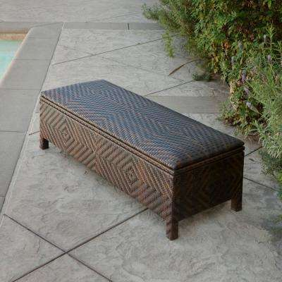 Santiago Brown Wicker Outdoor Storage Ottoman