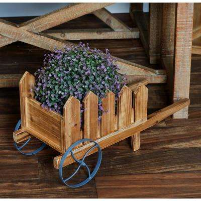 Beige Iron and Wood Flower Cart