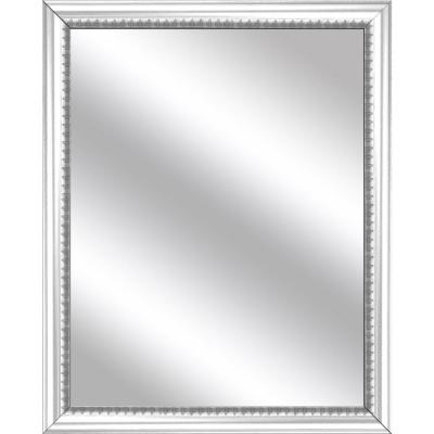 Medium Rectangle White Art Deco Mirror (32.75 in. H x 26.75 in. W)