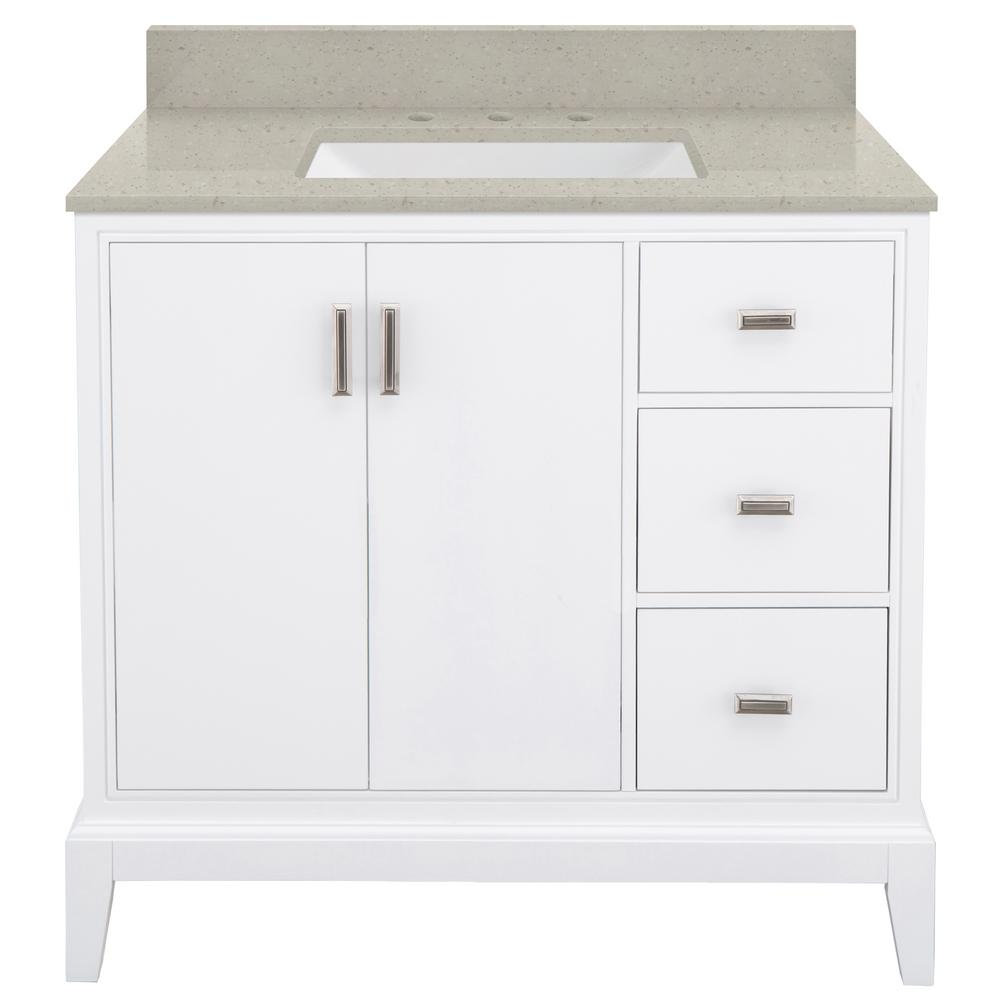 Home Decorators Collection Shaelyn 37 in. W x 22 in. D Bath Vanity in White RH with Engineered Quartz Vanity Top in Stoneybrook with White Sink was $999.0 now $699.3 (30.0% off)