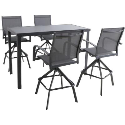 Naples 5-Piece Aluminum Outdoor Dining Set with 4 Swivel Bar Chairs and a Glass-Top Bar Table in Gray