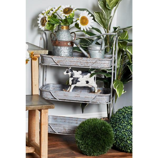 Litton Lane Gray 3-Tiered Garden Rack 74868