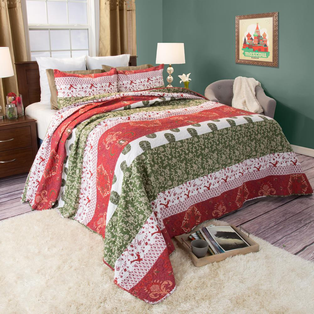 Brea Red Cotton King Quilt