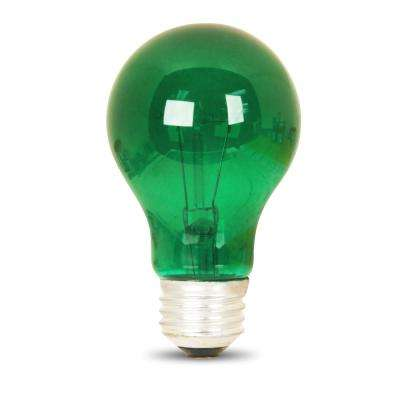 25-Watt Green A19 Dimmable Incandescent Party Light Bulb (Case of 24)