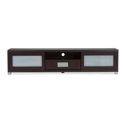 Gerhardine Collection 70 in. Dark Brown Wood TV Stand with 1 Drawer Fits TVs Up to 78 in. with Storage Doors