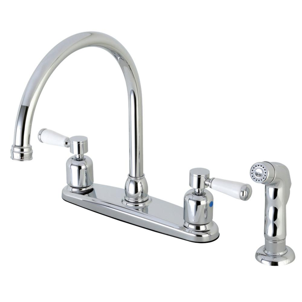 Paris 2-Handle Standard Kitchen Faucet with Side Sprayer in Polished Chrome