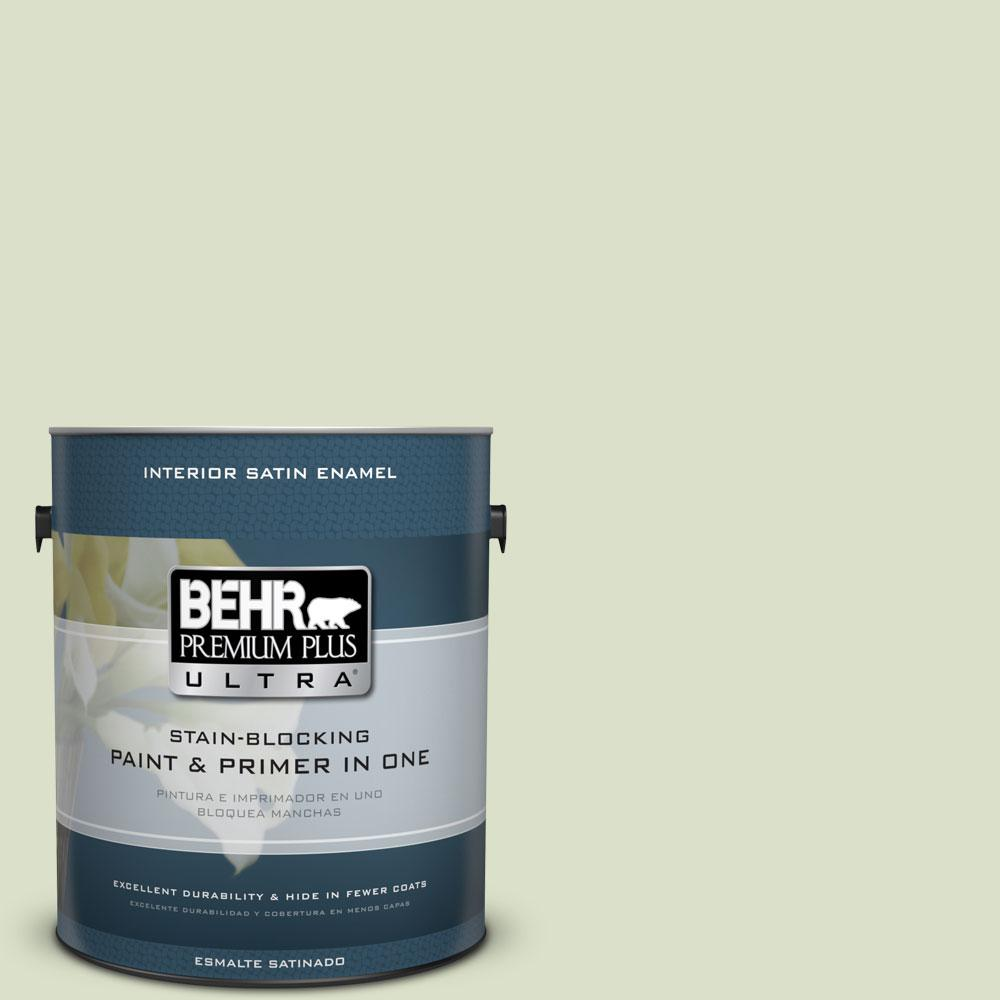 BEHR Premium Plus Ultra 1 gal. #420E-2 Palm Breeze Satin Enamel Interior Paint and Primer in One
