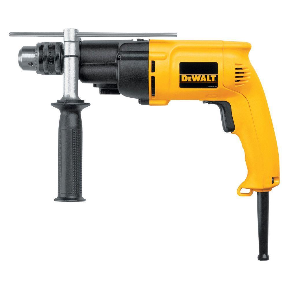 DEWALT 7.8 Amp 1/2 in. Variable Speed Reversing Dual-Range Hammer Drill with kit box