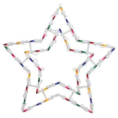18 in. Christmas Lighted Star Window Silhouette Decoration (4-Pack)